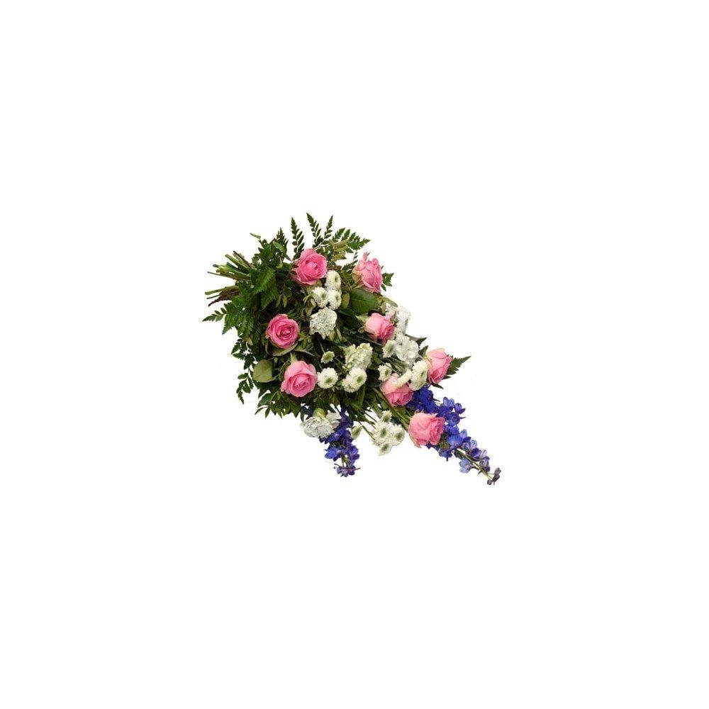 Begravningsbukett - Rosa, vit & blå