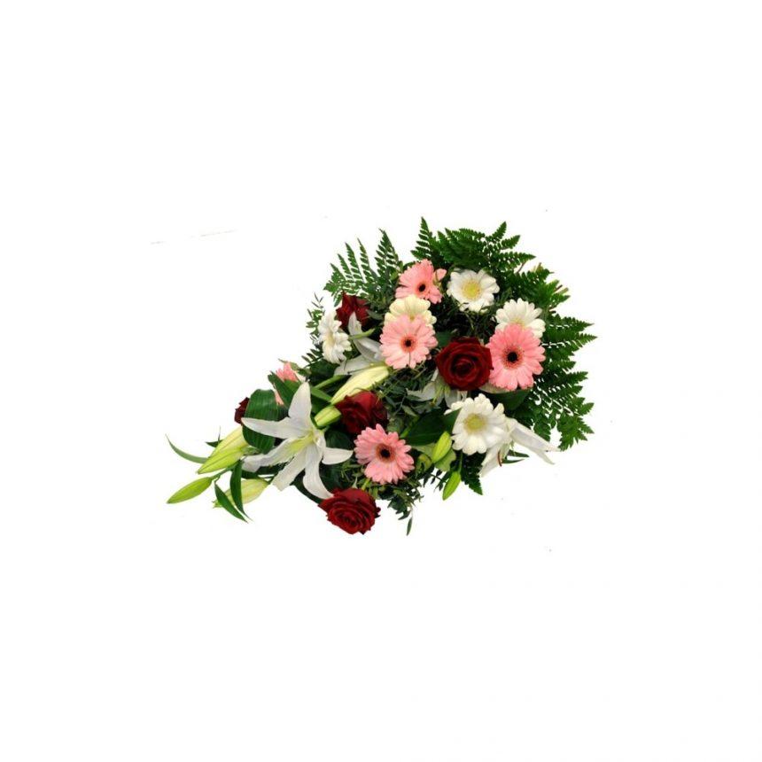 Begravningsbukett - Rosa, röd & vit