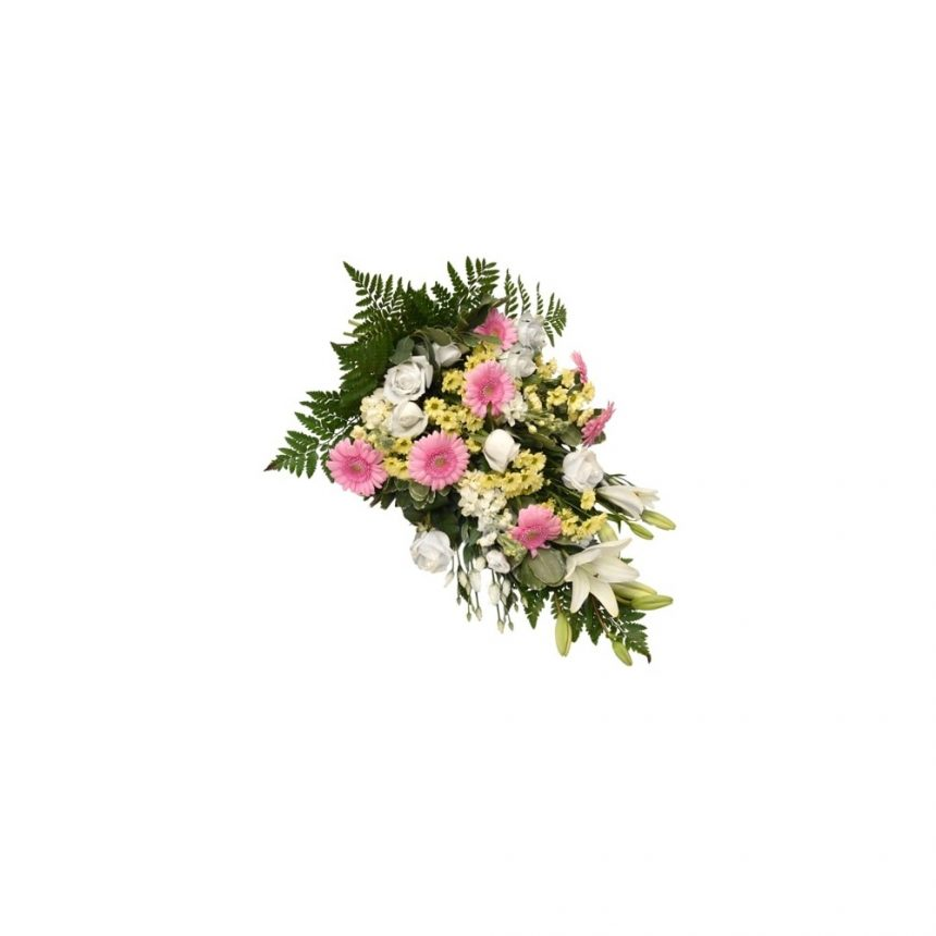 Begravningsbukett - Rosa, vit & gul