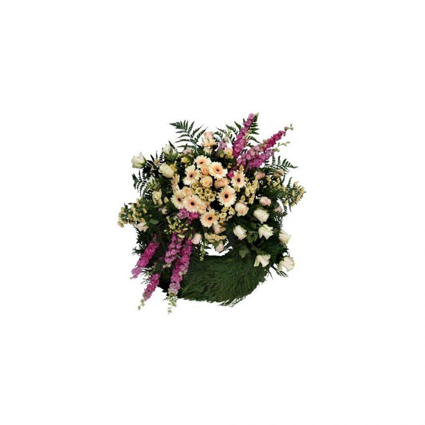 Begravningskrans - Champagne cream & rosa
