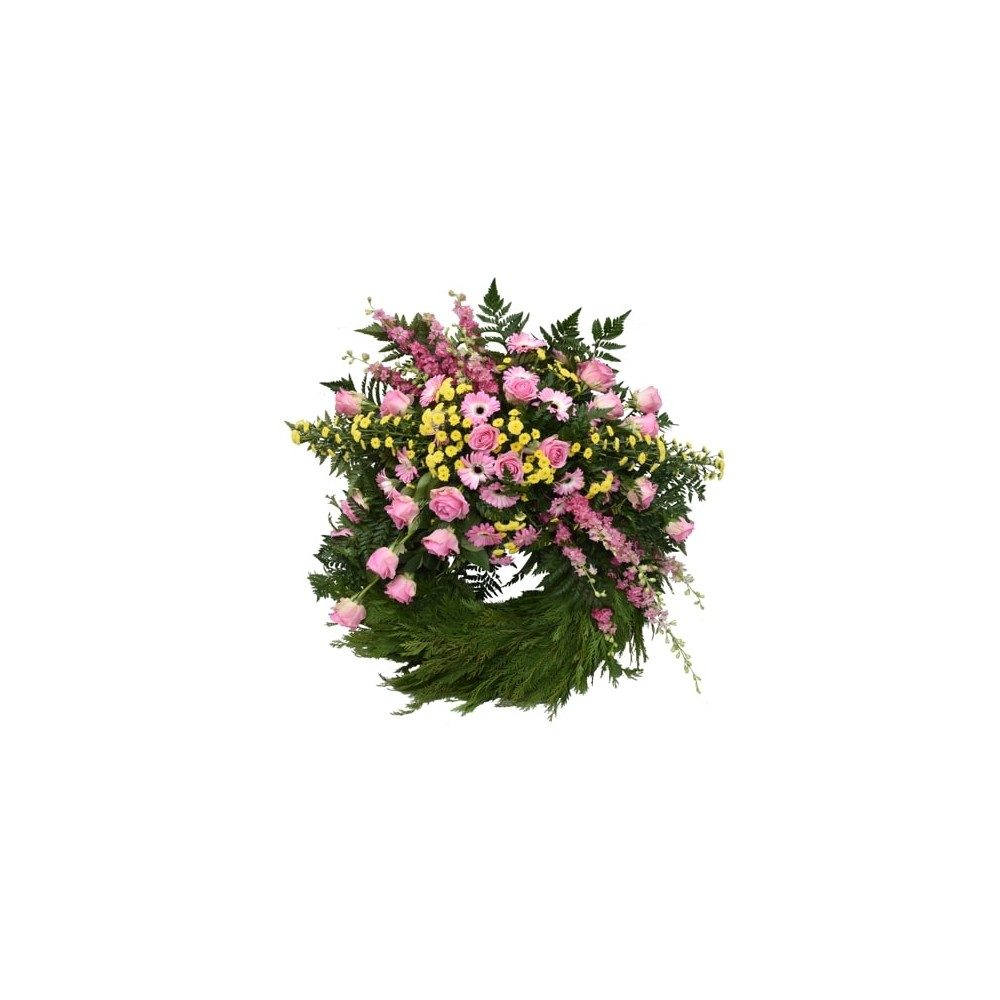 Begravningskrans i rosa & ljusgula toner