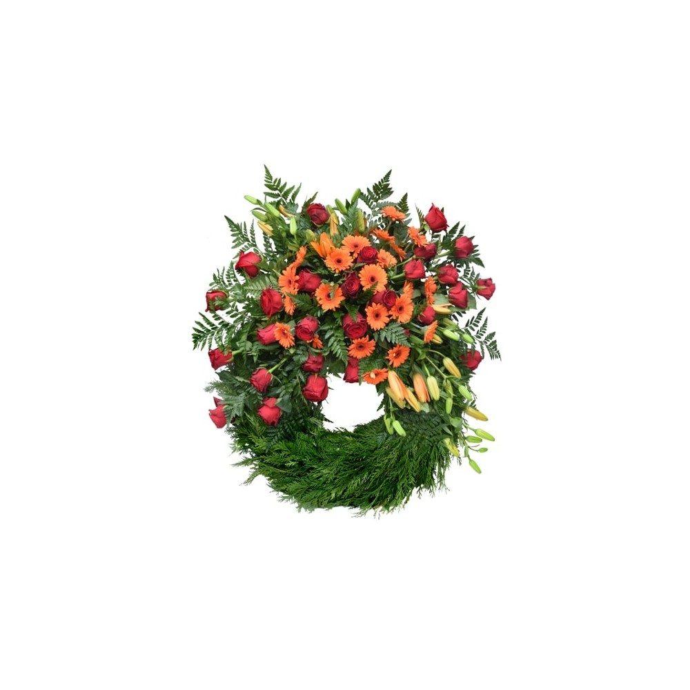 Begravningskrans - röd & orange med bal, rosor, liljor och gerbera