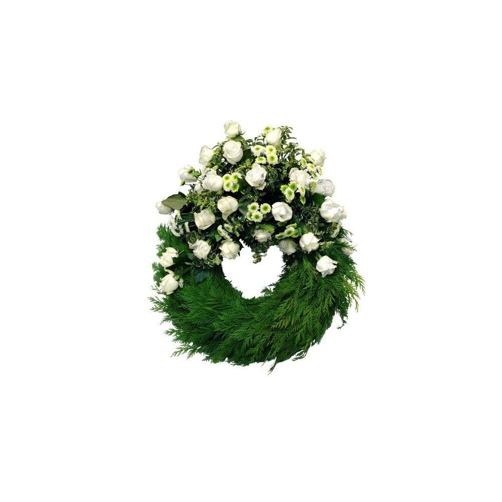 Begravningskrans i vita toner med rosor