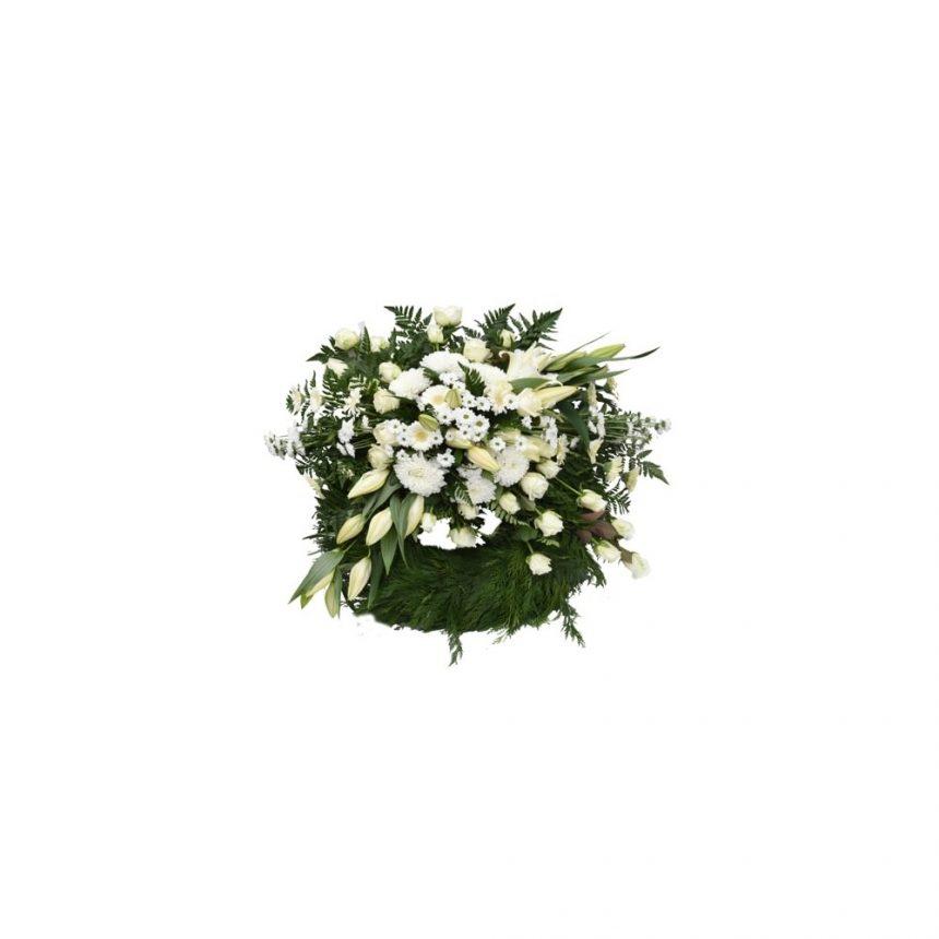 Begravningskrans i vitt med liljor och rosor