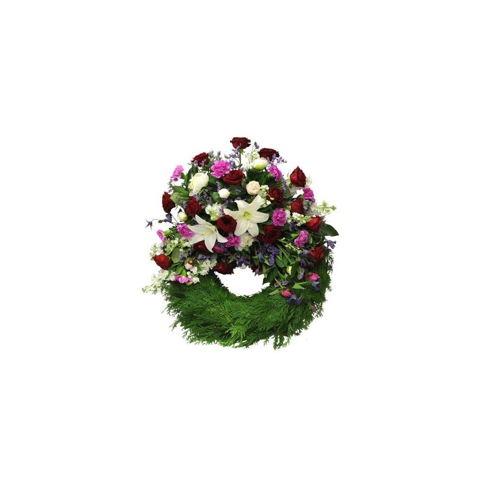 Begravningskrans - Röd, cerise, rosa & vit