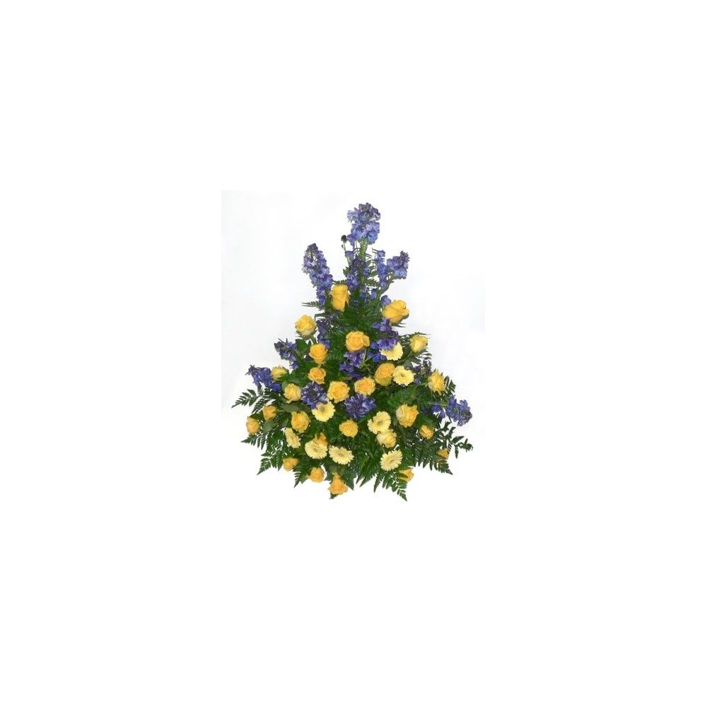 Hög begravningsdekoration - Gul & blå
