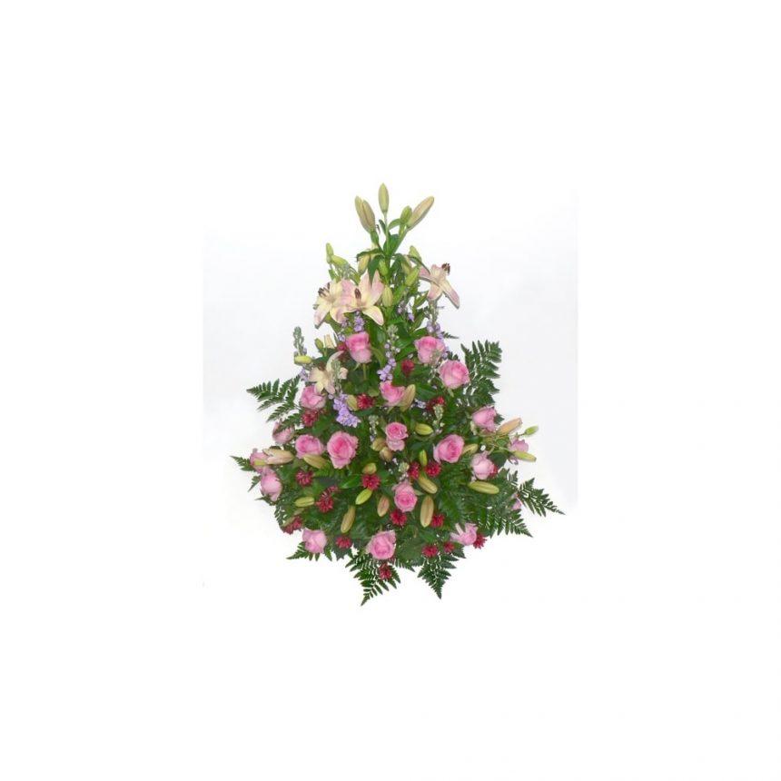 Hög begravningsdekoration i cerise & lila toner