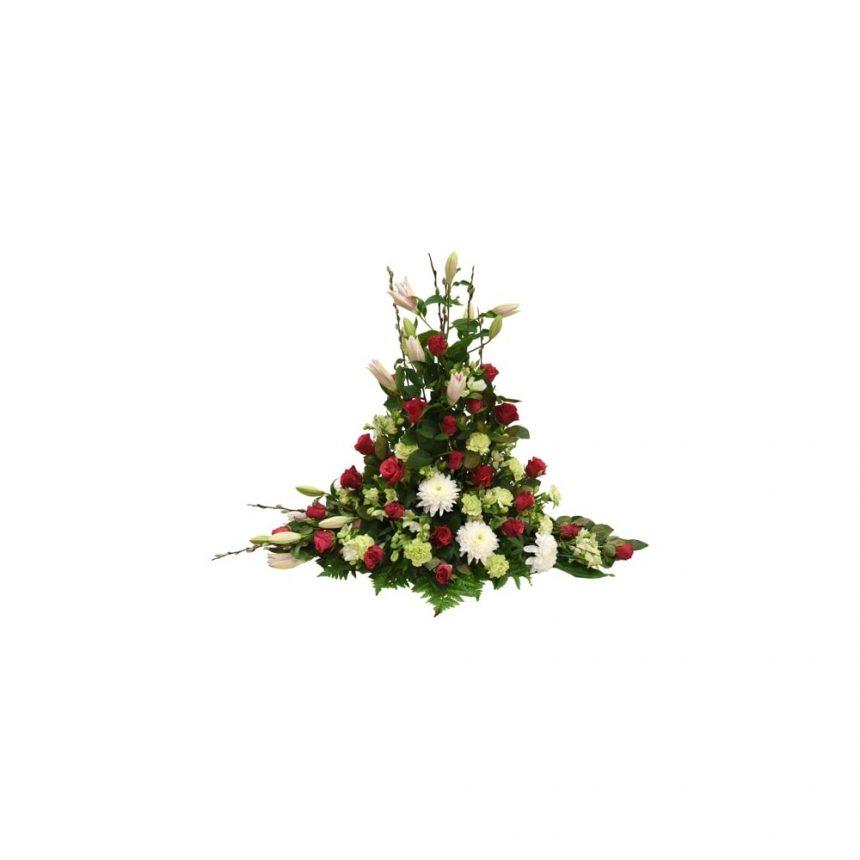 Hög begravningsdekoration i cerise, rosa & lime