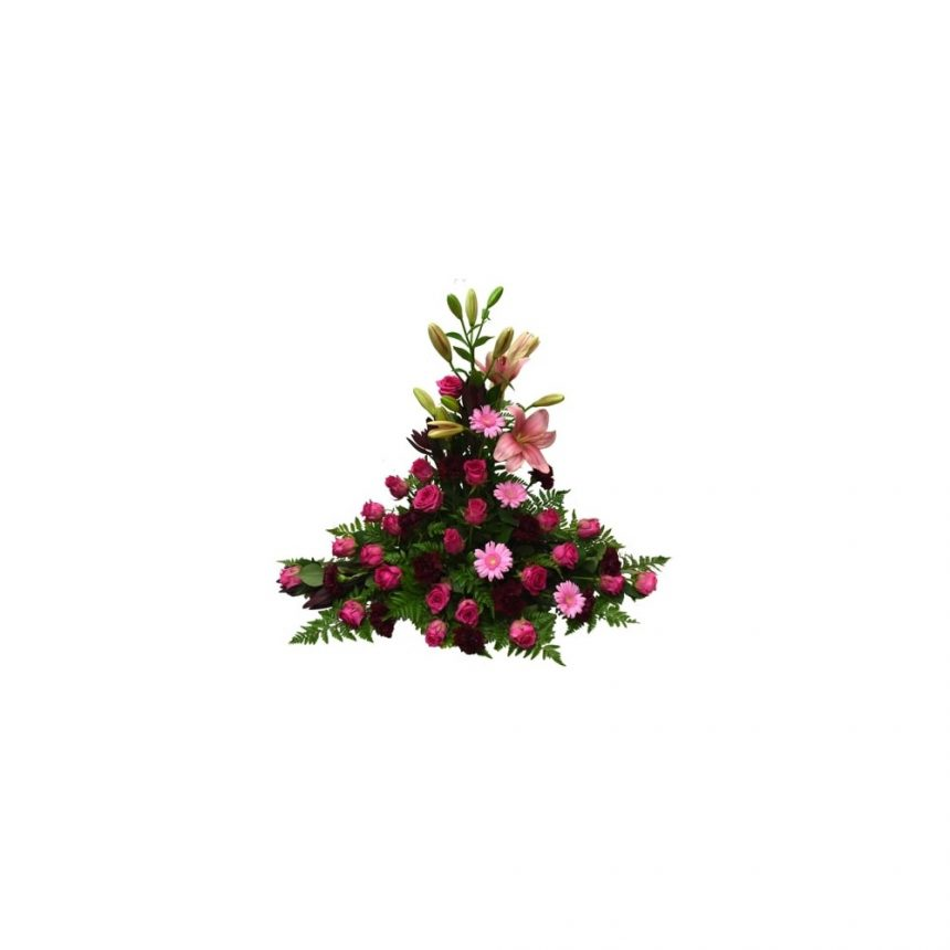 Hög begravningsdekoration i cerise, rosa & vinröd