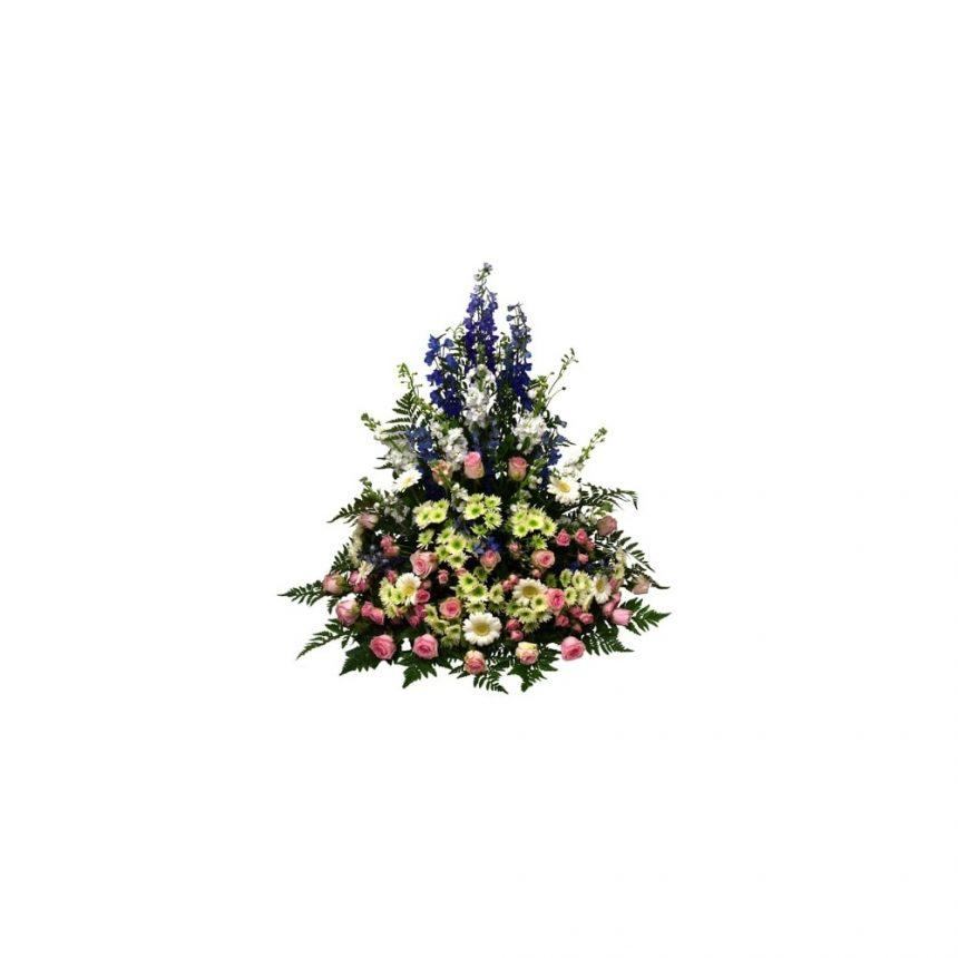 Hög begravningsdekoration - Rosa, blå, vit & lime