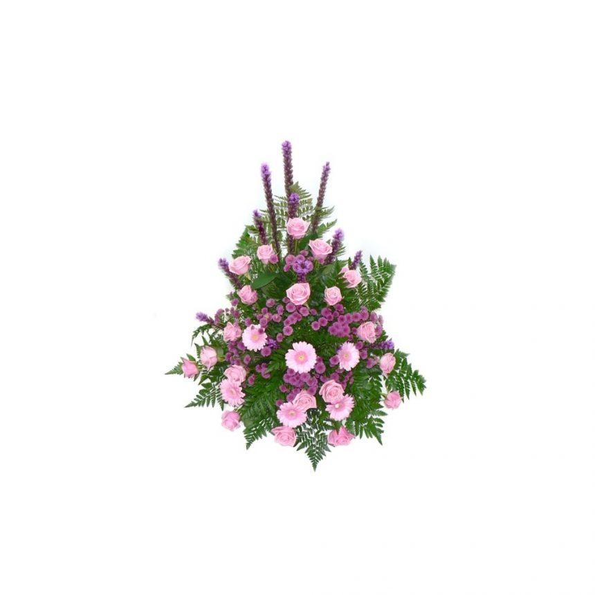 Hög begravningsdekoration i rosa & lila toner