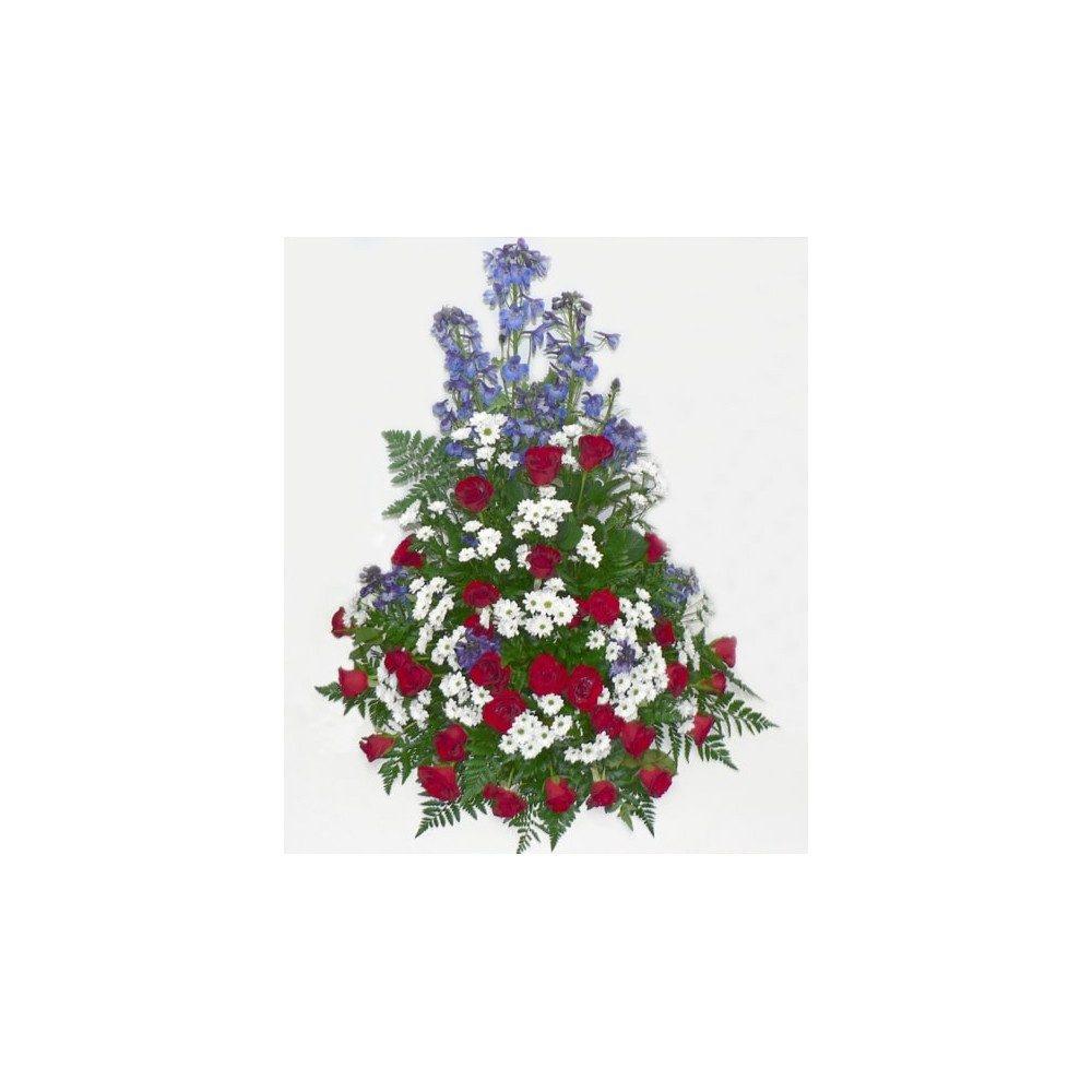 Hög begravningsdekoration i rött, vitt & blått med rosor