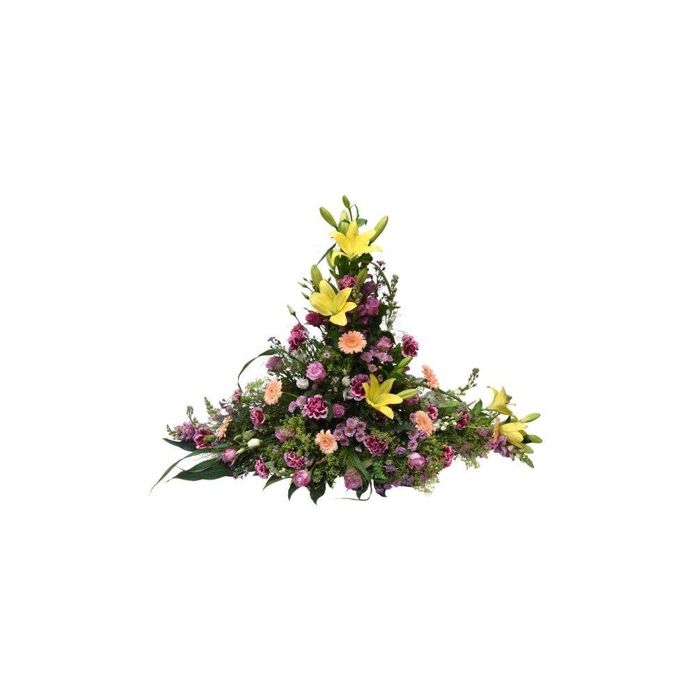 Hög begravningsdekoration - Somriga färger