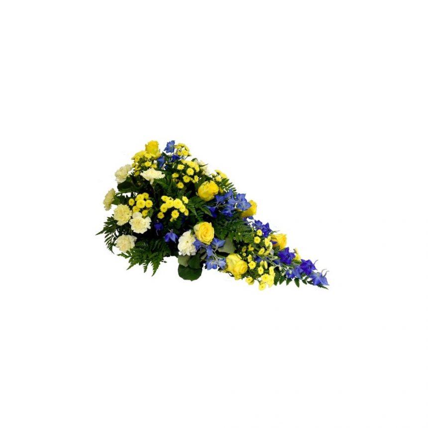 Låg begravningsdekoration - Blå & gul