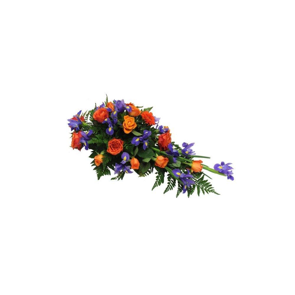 Låg begravningsdekoration - Orange & blå