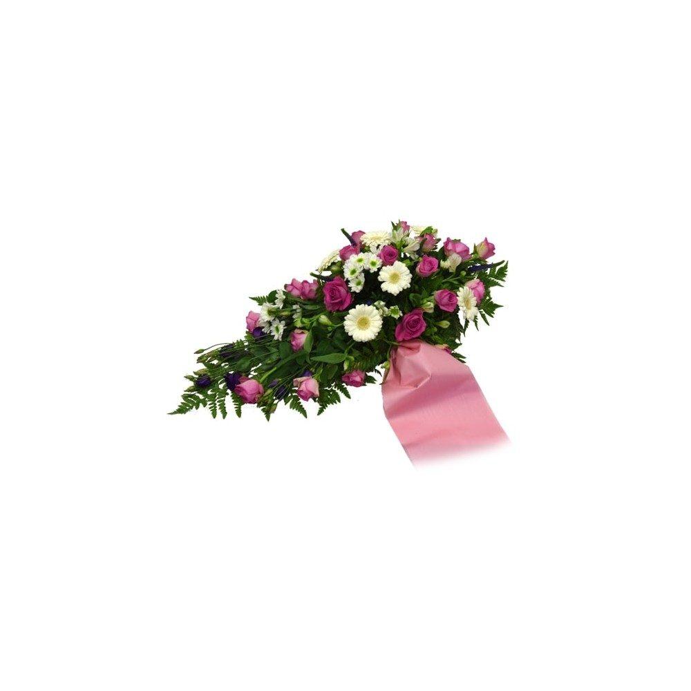 Låg begravningsdekoration i rosa och vitt - Band tillkommer