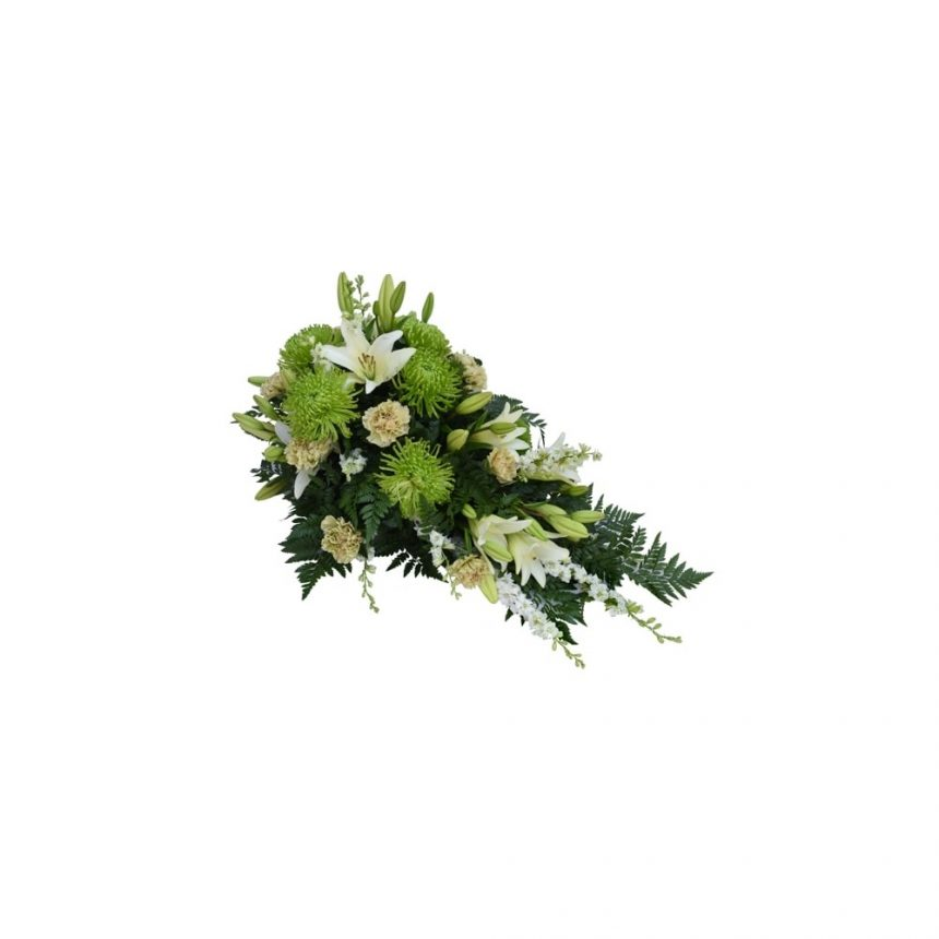 Låg begravningsdekoration - Vit & lime