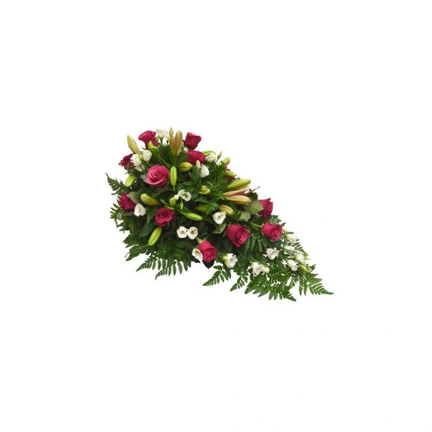 Låg begravningsdekoration - Rosa, cerise & vit
