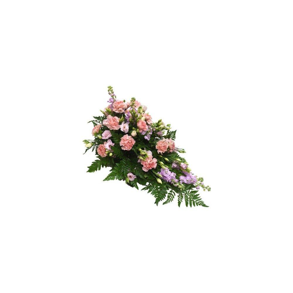 Låg begravningsdekoration i rosa & lila toner