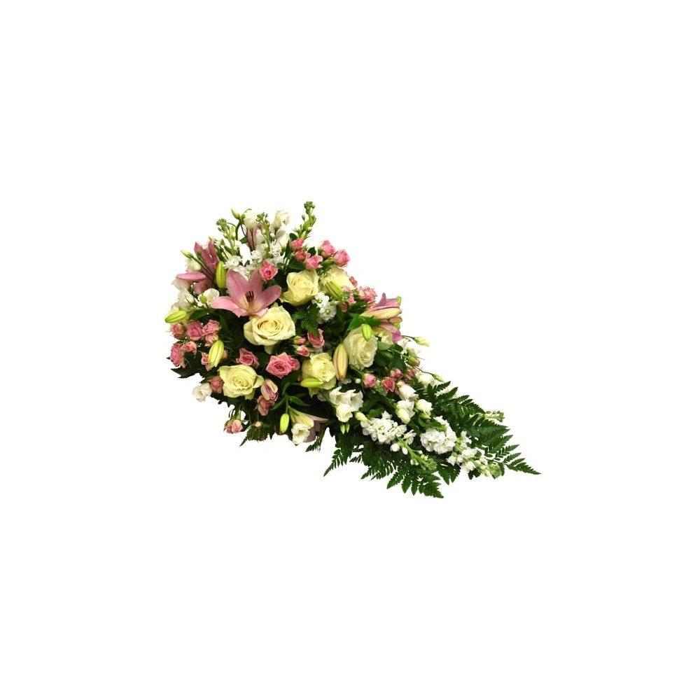 Låg begravningsdekoration i rosa & vita toner