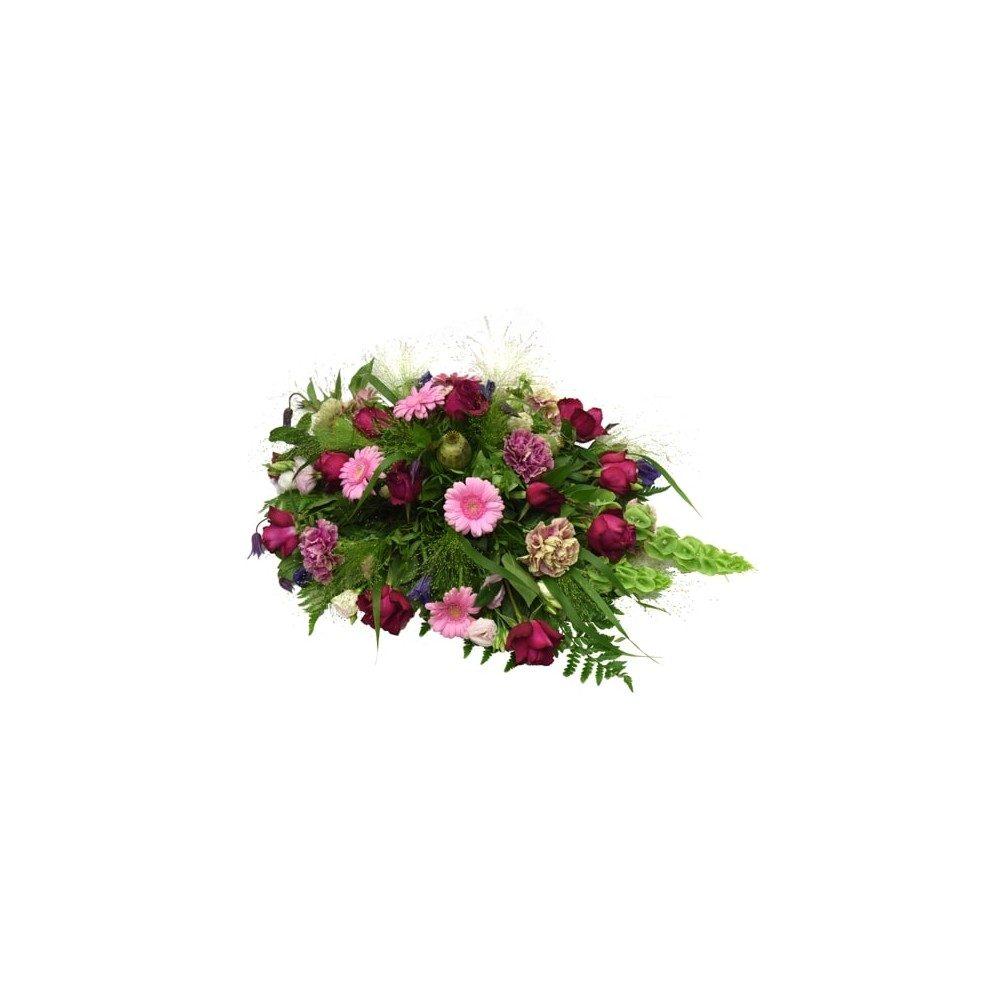 Låg & rund begravningsdekoration i cerise, rosa & lila