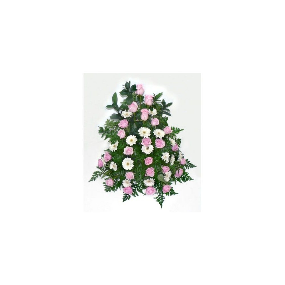 Hög Begravningsdekoration i rosa & vitt med rosor