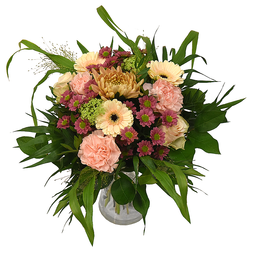 skicka blommor Rund Bukett i aprikos från bellis blomsterhandel
