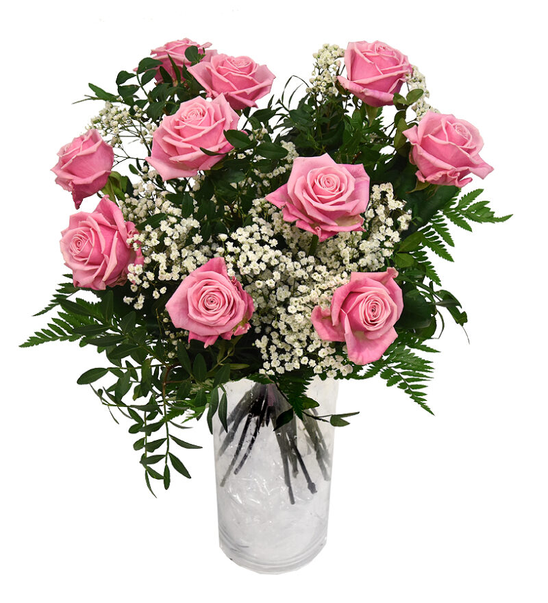 Bukett med rosa rosor och brudslöja Bellis Blomsterhandel