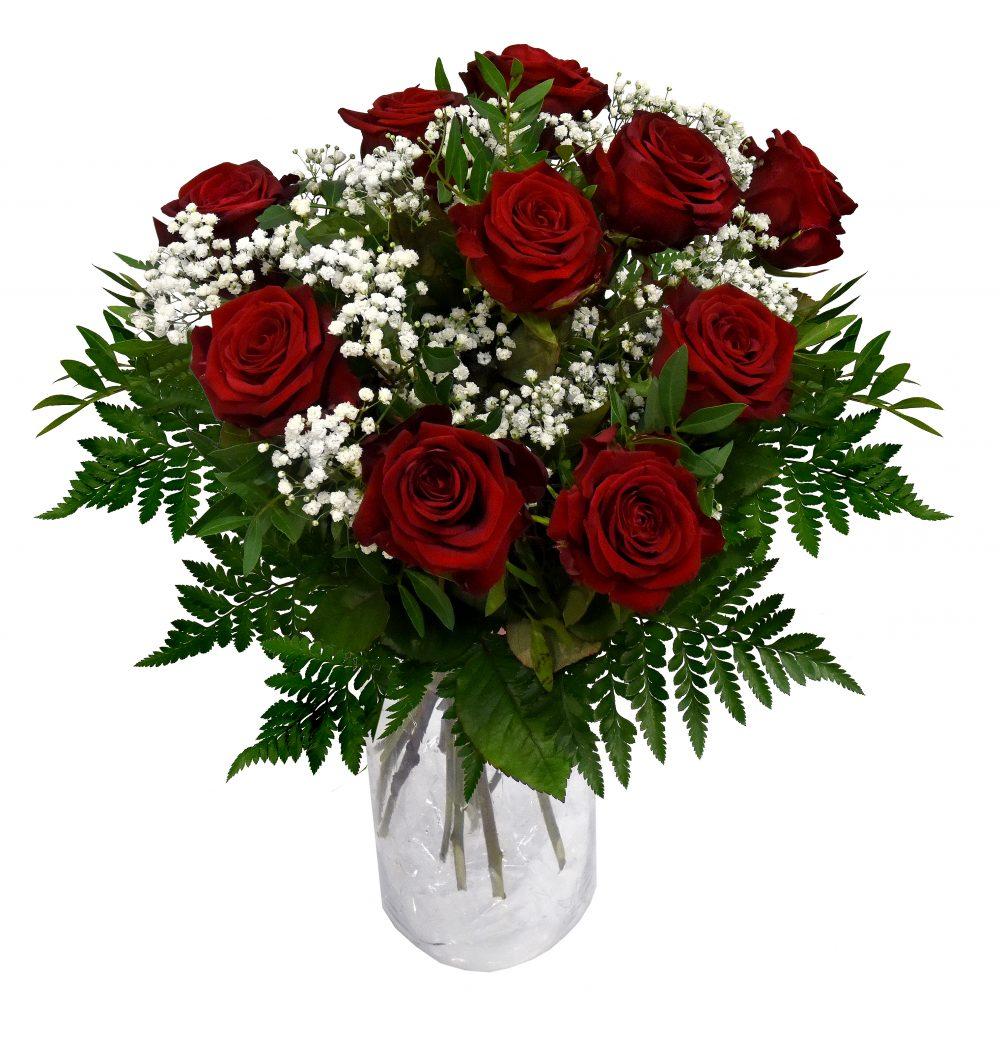 Blommor från Bellis blomsterhandel Röda rosor i bukett